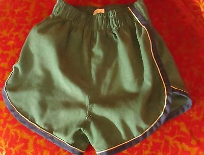 BOYS sz 6-8 Vintage 80s JC PENNEY GREEN/Blue Piped Swim Trunks Shorts 1980s