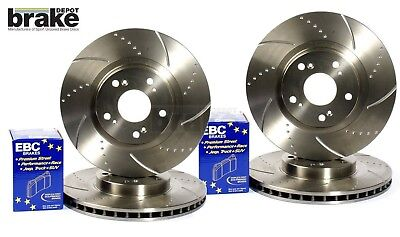 Evora Grooved Brake Discs & EBC Brake Pads to fit Vauxhall Corsa 1.6 VXR