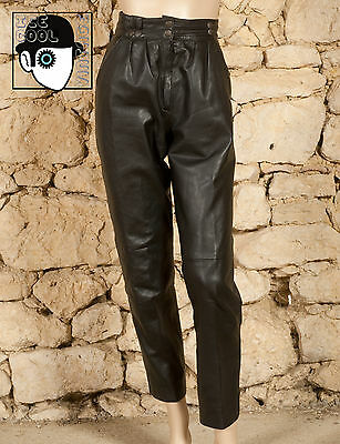 VINTAGE 80s BOOT LENGTH LEATHER TROUSERS - UK 8 - (Q)