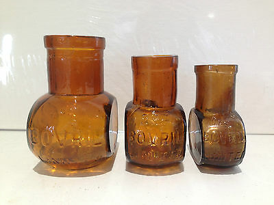3 Antique Brown Amber Bovril Graduated Glass Bottles 4Oz 2Oz & 1Oz Ex Condition