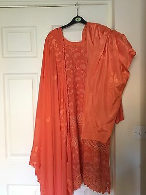Ladies 3pc Fancy Indian Chiffon Salwar kameez Trouser Suit Kurti 12-14 M Used