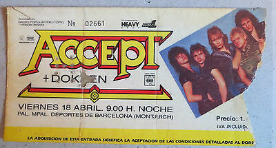 Accept/dokken: (Ticket Concierto Barcelona 1986)