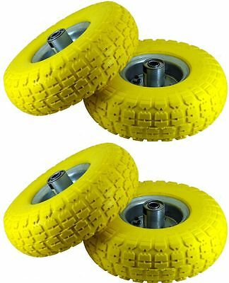 """4 x 10"""" YELLOW SACK TRUCK TROLLEY SOLID RUBBER REPLACEMENT WHEEL TYRE STEEL RIM"""