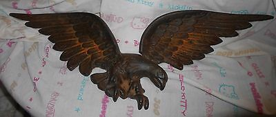 Large Vintage Weathered Black Cast Iron Flying Eagle Hanging Fixture 24 1/2""