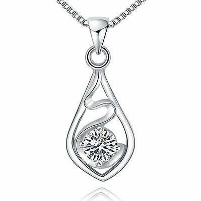925 Sterling Silver Necklace Chain Crystal Heart Waterdrop Pendant Gift Box K15