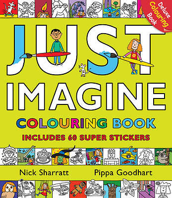 NEW  - NICK SHARRATT JUST IMAGINE deluxe COLOURING BOOK with 60 STICKERS