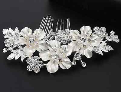 Silver Flower Bridal Comb With Crystals Wedding Hair Accessory Jewelry