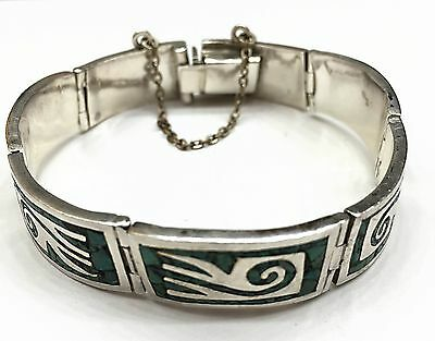 Vintage Taxco 925 Silver Malachite Tribal Hinged Bracelet Signed/Numbered. 34 Gr