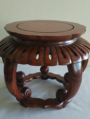 "Gorgeous Old Chinese Hand Carved Detailed Rosewood? Stand for fish bowl 7 3/4"" D"
