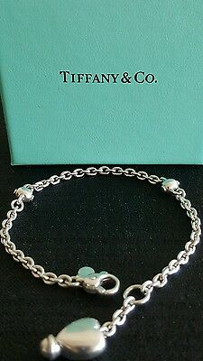 Authentic Rare Vintage Tiffany & Co Sterling  Silver Heart Charm Bracelet