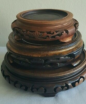 """Lot of 3 Vintage Chinese Hand Carved Wood Stand for Vase / lamp or bowl, 5""""-3"""" D"""