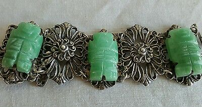 Old Chinese Hand Carved Heavy Jade Silver?Bracelet