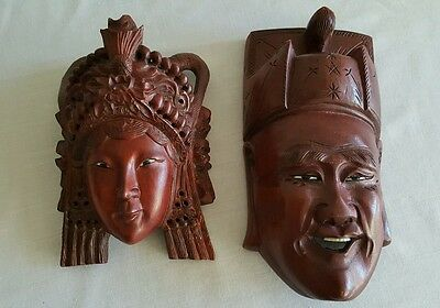 Vintage Chinese Carved Wood Mask Happy Faces