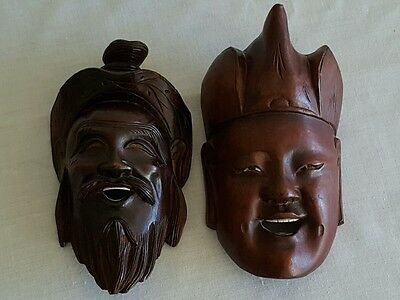 "Vintage Chinese Carved Wood Mask Happy Face Statues /Mask, 6"" Long"