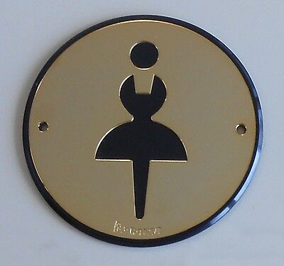 ROUND SIGN PLATE  WOMENS  BATHROOM / LOO / TOILET / WASHROOM - 96mm DIAMETER