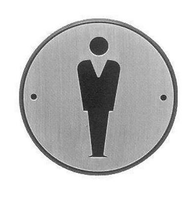 ROUND SIGN PLATE  MENS  BATHROOM / LOO / TOILET / WASHROOM - 96mm DIAMETER