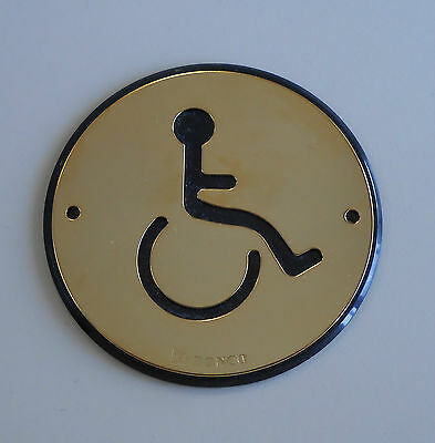 ROUND SIGN PLATE DISABLED BATHROOM / LOO / TOILET / WASHROOM - 96mm DIAMETER