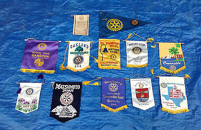 Lot of 11 International & Domestic Rotary Banners + 1 Pennant with Patch