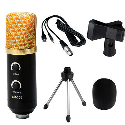 USB Condenser Studio Sound Recording Microphone Mic + Shock Mount Tripod Stand #