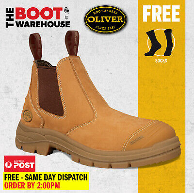 Oliver Work Boots 55322. Wheat, Elastic Sided, Steel Toe Safety. UPDATED STYLE!