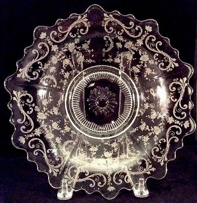 Chantilly Bowl 4400 Clear Etched Cambridge Glass 1950s Martha Shape Flared MCM