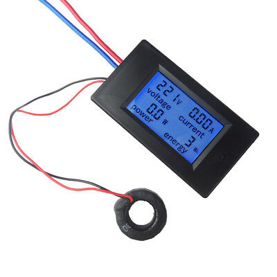 100A AC Digital LCD Panel Current Power Meter Monitor Energy Ammeter Voltmeter