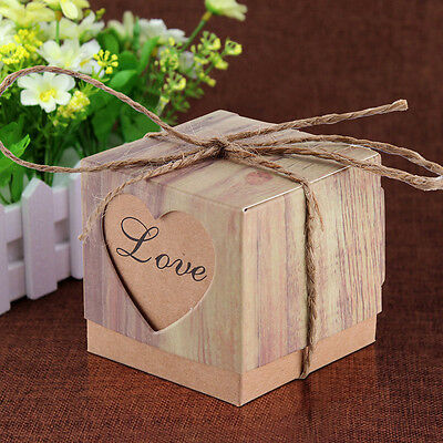 50x Heart Love Rustic Sweet Laser Cut Candy Gift Boxes Wedding Party Favour DIY