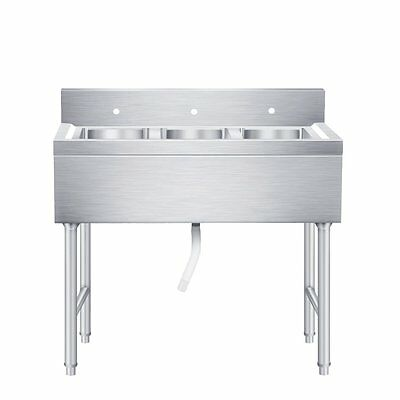 Commercial Three 3 Compartment Stainless Steel  Kitchen Sink Heavy Duty