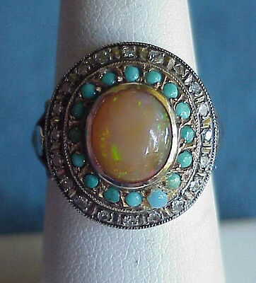 Unusual Antique 14Kt Gold Opal Turquoise Mine Cut Diamond Size 6 1/2 Ring Mexico