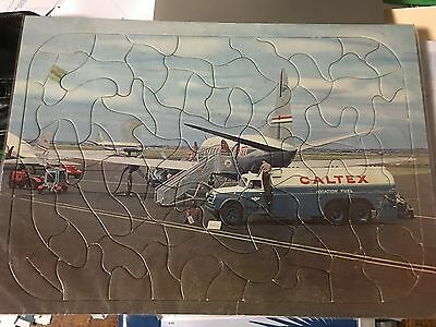 Vintage TAA refuelling with Caltex puzzle jig saw Vickers Viscount