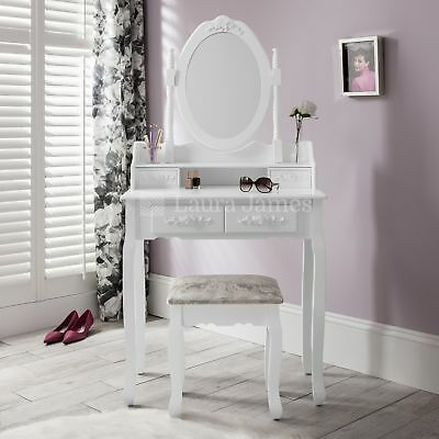 White Dressing Table Stool and Mirror set Dresser 4 drawers