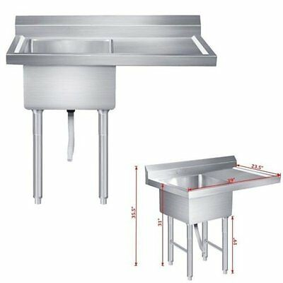 """Bow Size 39"""" Stainless Steel Drop-In Laundry Kitchen Utility Sink Tub Wash Basin"""