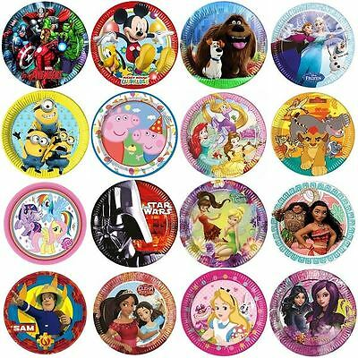 Childrens Birthday Party Paper Plates Disney Character X8 Tableware