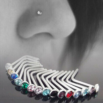 10pcs Multi Color Stainless Steel Nose Body Piercing Stud Crystal Screw Ring