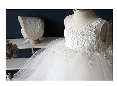 FLOWER GIRL party christening dress lace top lace netted layered skirt (73)