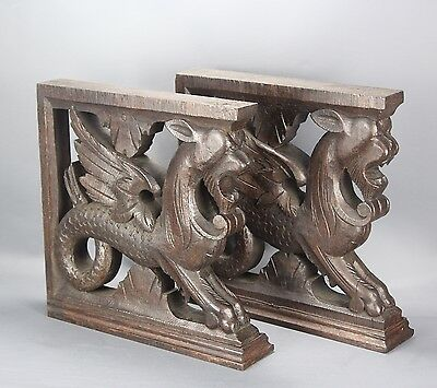 Pair of Antique French Carved Wood Corbel Gargoyle Chimera