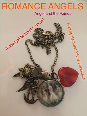 00070  ROMANCE ANGELS Red Agate Heart Archangel's Michael Infused Necklace™