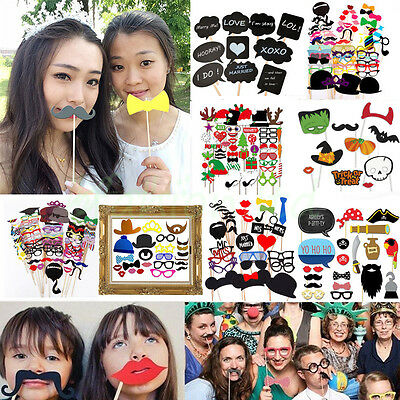 UK Party Photo Booth Selfie Props Colourful Wedding Moustache Lips Fun on Sticks