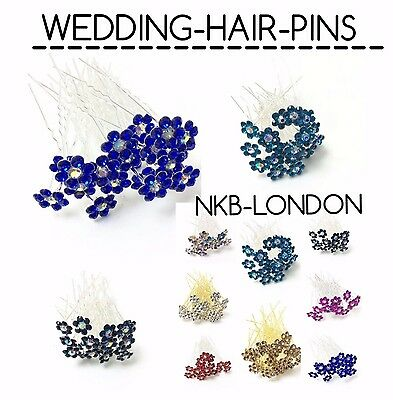 New Flower Diamante Crystal Hair Bun Styling Pins Clips Prom Wedding Party Pins