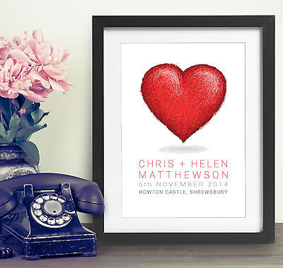 Personalised Wedding Print Gift Bespoke Unique Present Newly Weds Heart Love