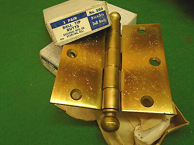 NEW OLD STOCK 3.5 X 3.5 CANNON BALL HINGES - w/BOX & SCREWS!!!   (4384-A)