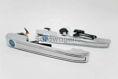 VW Golf Jetta Caddy Chrome Door Handles Set Pair With Lock Keys Driver Passenger