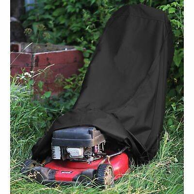 Premium Lawn Mower Cover Heavy Duty 300D Oxford Dust Rain UV Protection Black