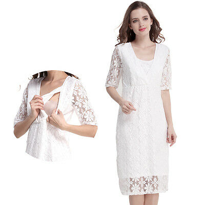 New Style Women Lace Maternity Clothes Nursing Dress Breastfeeding Dresses S-XL