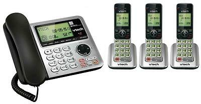 VTech CS6649-3 DECT 6.0 Corded/Cordless Combo - Black & Silver