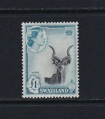 Swaziland SG64 £1 black & turquoise-blue - lightly mounted mint £60