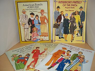5 Tom Tierney Paper Dolls American Family 1920's - 1970's Uncut and Unused