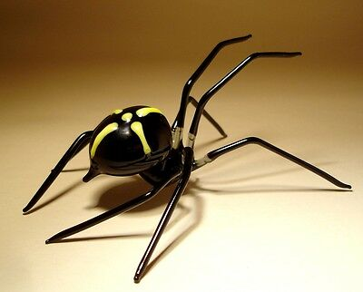 Blown Glass Figurine Art Insect Black with Yellow Cross SPIDER