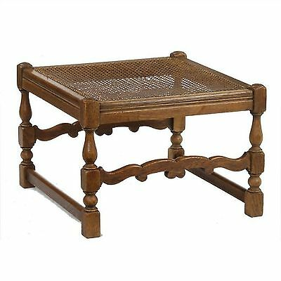 22 inch Square Vintage Bergere Caned Turned Leg Renaissance Oak Footstool Stool