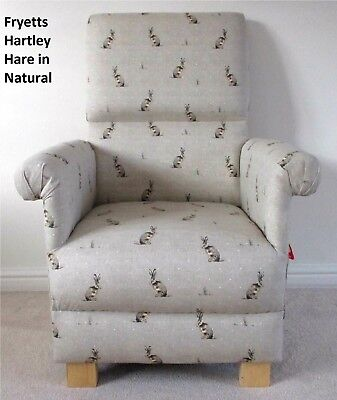 Fryetts Hartley Hare Fabric Adult Chair Natural Rabbits Animals Armchair Nursery